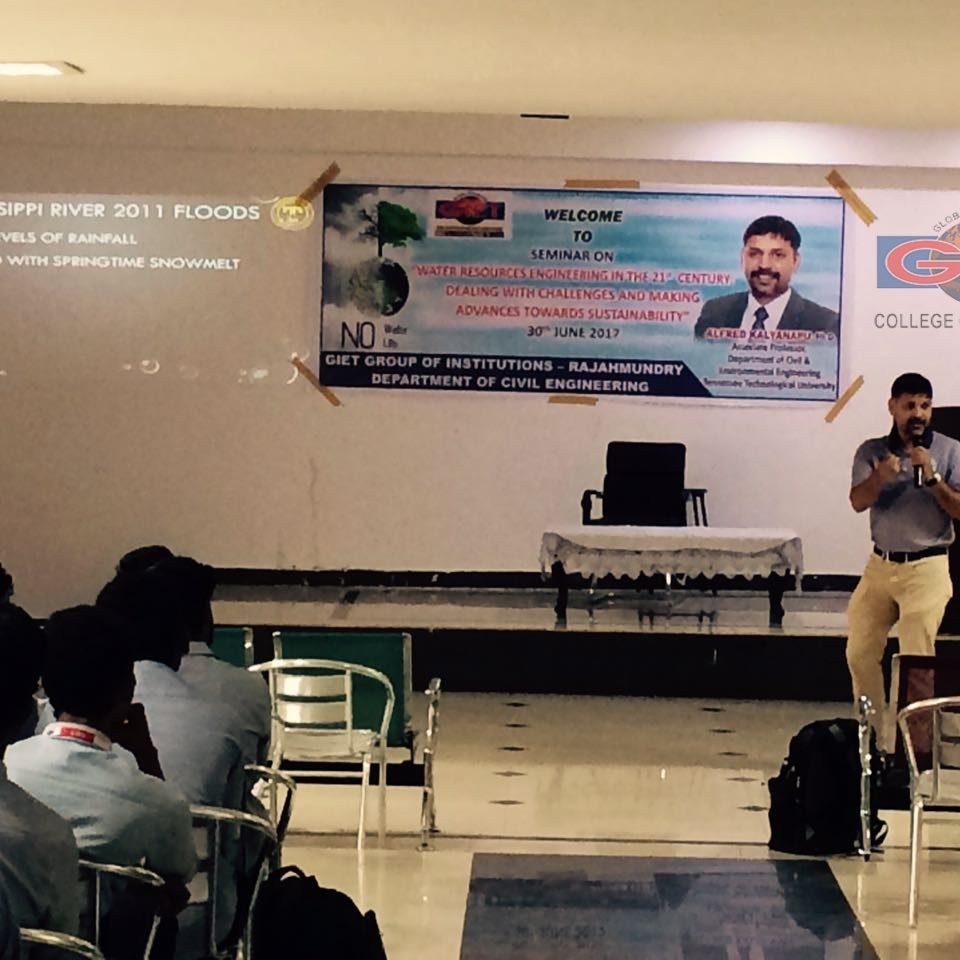 """Guest lecture on """"Water Resources Engineering In The 21 st Century Dealing With Challenges And Making Advances Towards Sustainability """" by Alfred Kalyanapu, Ph.D., Associate Professor, Department Of Civil And Environmental Engineering, Tennessee Technological University"""